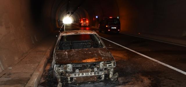Amasra Tüneli'nde araç yangını