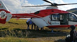 Ambulans helikopter akıma kapılan işçi için havalandı