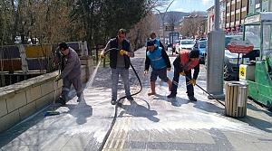 Bayburt'ta cadde ve sokaklar yıkanıyor