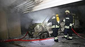 Bolu'da garajda park halindeki minibüs yandı