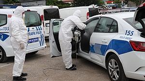 Bolu'da polis araçları dezenfekte edildi