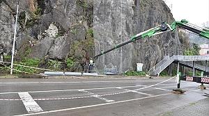 Giresun'da taş ve kaya düşmelerine çelik tel önlemi