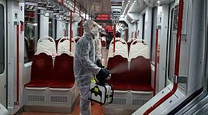 Samsun'da tramvaylar virüslere karşı ULV sisleme cihazı ile dezenfekte ediliyor
