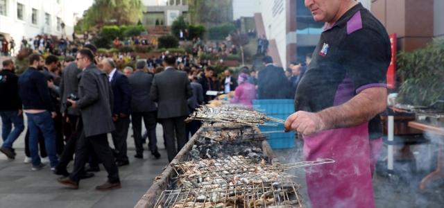 Üniversite öğrencileri festivalde 1 ton hamsi tüketti